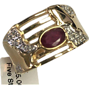 14 K Yellow Gold Ruby & Diamond Band