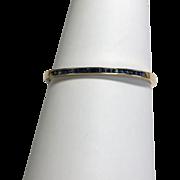 Vintage 14 k Yellow Gold 0.97 Ctw Princess Sapphire Hinged Bangle Bracelet