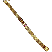 14 K Yellow Gold Pink & Yellow Sapphire Mesh Bracelet