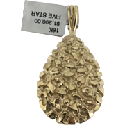 18k Yellow Gold Solid Nugget Pendant