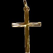 18 K Yellow Gold Diamond Cut Cross