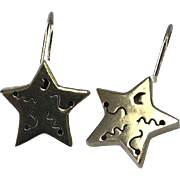 Mexico Sterling Silver Three Dimensional Pierced Drop Star Earrings