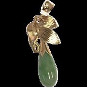 14 K Rose Gold Leaf Drop Jade Pendant