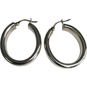 Sterling Silver 8 mm Wide Pierced Oval Hoop Earrings