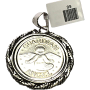 Sterling Silver Guardian Angel Large Pendant