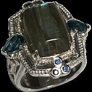 Sterling Silver Labradorite & London Blue Topaz Ring