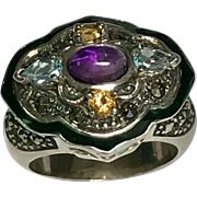Sterling Silver Multi Color Gemstone & Green Enamel Ring