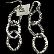 Sterling Silver Hammered Triple Oval Ring Dangle Earrings