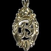 Sterling Silver Diamond Cut Ornate Letter B