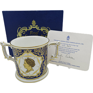 Royal Crown Derby Queen Elizabeth II 40th Anniversary Loving Cup  Boxed Free Shipping