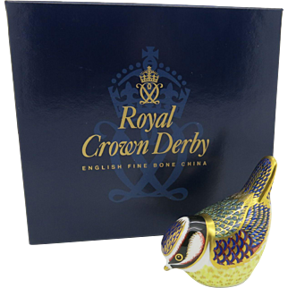 """Royal Crown Derby """"Blue Tit"""" Paperweight 22K Gold Stopper Boxed  Free Shipping"""