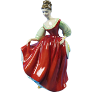 "Royal Doulton ""Fair Lady"" Figurine HN2832 Red Dress   Free Shipping"