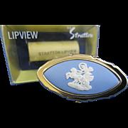 Vintage Stratton Wedgwood Lipview Lipstick Holder Blue Jasperware Free Shipping