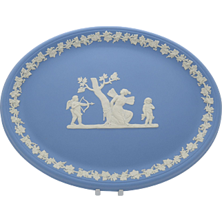 Wedgwood Jasper Oval Tray Blue Jasperware  Psyche Bound by Cupid  Gift Boxed  Free Shipping