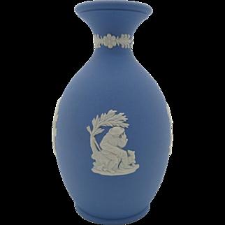 Wedgwood Jasper Bud Vase  Blue Jasperware  England 1975  Free Gift Box  Free Shipping