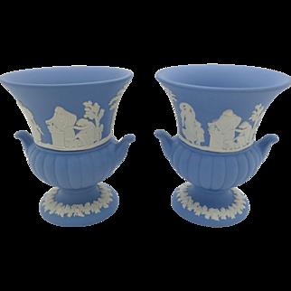 Pair of Wedgwood Jasper Urn Vases  Blue Jasperware  Gift Boxed  Free Shipping