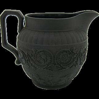 19th Century Wedgwood Jasper Black Basalt Jasperware Creamer Jug 1874 Free Shipping