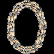 "Vintage Saks Fifth Avenue Faux Baroque Pearl and Swarovski Crystal 60"" Necklace"