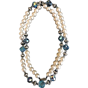 Vintage Saks Fifth Avenue Faux Pearl and Swarovski Crystal Necklace