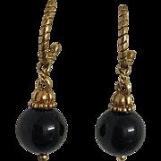 Signed Vintage Black Drop Earrings