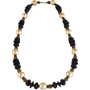 Vintage Saks Fifth Avenue Wood, Metal and Faux Pearl Necklace