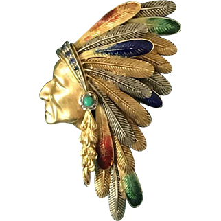 18K Gold, Sapphire and Turquoise Indian Chieftain Brooch