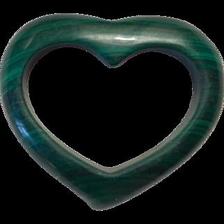 Vintage Malachite Open Heart Pendant