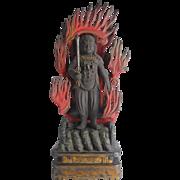 Antique Japanese Buddhist Deity Fudo Myo-o/Acala from Edo Period, 17th/18th Century
