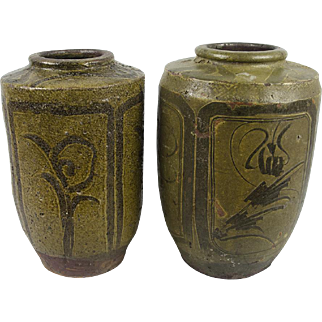 Two Large Antique Chinese Martaban Storage Jars from Qing Dynasty, 19th/20th Century