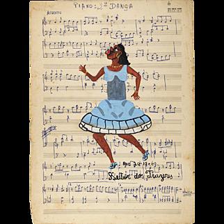 Original Heitor Dos Prazeres Brazilian Primitivist Painting on music sheet signed dated Rio 1960