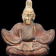 Antique Japanese Buddhist Shinto Deity Tenjin Ceramic Statue from Edo Period, 17th/18th Century
