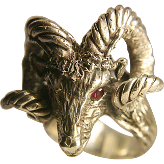 Sterling Silver Vintage Ram's Head Ring With Ruby Eyes