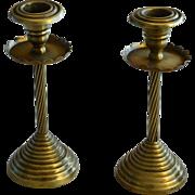 19th C Victorian English Brass Candlesticks