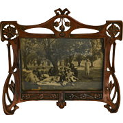 1900s Art Nouveau French Metal Photo Frame