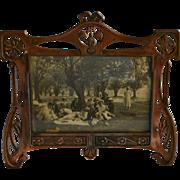 1900s Art Nouveau French Metal Photo Frame