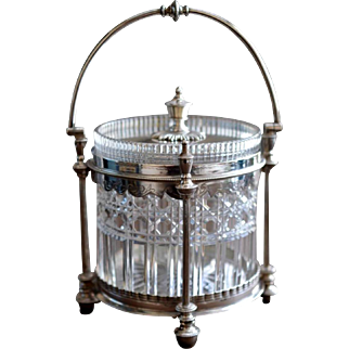 Cut Glass Silver Plate Biscuit Jar