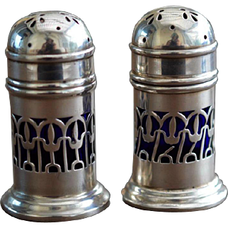 Docker & Burn Arts Crafts Sterling Silver Cobalt Salt Pepper Shakers