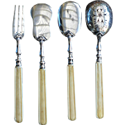 Vintage French Silver and Bone Serving Set, Jean Barthelemy, 1898