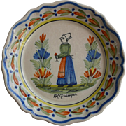 Signed H.Quimper 1900s French Faience  Plate
