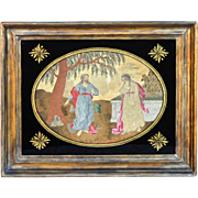 Georgian Embroidery, Silk Work with Eglomise Mat and Original Frame