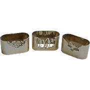 Set of 3 Vintage London Marked Napkin Rings