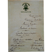 An Original 19th C Handwritten Ritz Restaurant Menu