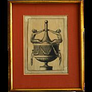 19th C Empire Style Decorative Print in Original Frame