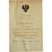 Imperial Russian Tsar Alexander III Menu, dated December 12, 1884, from the archives of Count Platon Obolenskiy (1850-1913) - Red Tag Sale Item