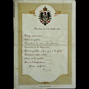 Imperial German Menu, Emperor Wilhelm I, dated Breslau, Sept.7, 1882