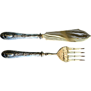 Ornate 19th C French Silver Gilt Serving Set