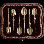Set of Silver & Gilt Tea Spoons, London 1901