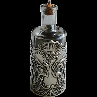 Victorian Silver & Glass Elaborate Perfume Bottle, Birmingham 1904
