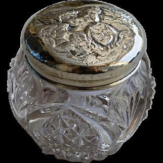 Silver and Cut Glass Powder Jar, Birmingham 1907