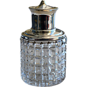 Antique English Sterling Silver and Cut Glass Perfume Bottle, 1909